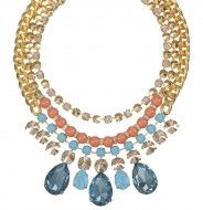 Turquoise & coral statement necklace