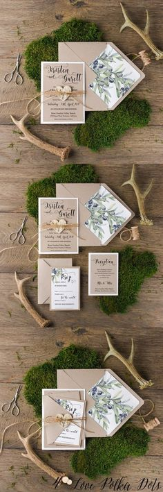 Rustic botanical olive wedding invitations #rusticwedding #botanicalwedding #greeneywedding