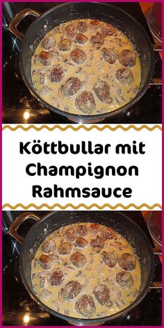 Köttbullar mit Champignon Rahmsauce Ingredients 500 g minced meat mixed 1 m. Large onion (s) 500 g mushrooms fresh 200 g cream 200 ml milk 1 egg (s) a little breadcrumbs a little nutmeg 1 tsp heaped f Healthy Eating Tips, Healthy Nutrition, Easy Casserole Dishes, Mushroom Cream Sauces, Good Food, Yummy Food, Stuffed Mushrooms, Stuffed Peppers, Fimo