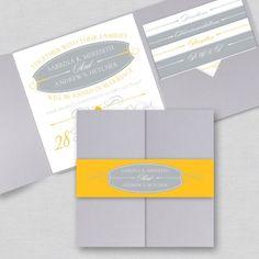 Yellow and Grey Wedding Ideas - Sleek Simplicity Pocket Invitation Pocket Wedding Invitations, Elegant Wedding Invitations, Wedding Stationary, Faire Part Invitation, Pocket Invitation, Invitation Envelopes, Invitation Set, Invites, Grey Wedding Colour Theme