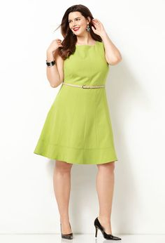 Seamed Fit and Flare Dress with Belt-Plus Size Dress-Avenue