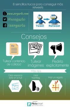 6 sencillos trucos para conseguir más retweets. Infografía en español. #CommunityManager