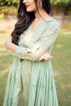 sleeves designs for dresses Mint Green and Golden Hand Block Printed Tiered Style Kurta Set Neck Designs For Suits, Sleeves Designs For Dresses, Dress Neck Designs, Stylish Dress Designs, Blouse Designs, Sleeve Designs For Kurtis, Stylish Kurtis Design, Simple Kurti Designs, New Kurti Designs