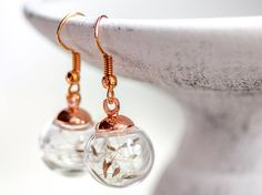 Rose gold Earrings real Dandelion WISH Jewelry Woman Tiny Earrings, Rose Gold Earrings, Dandelion Wish, Have A Shower, Beautiful Roses, Dangles, Handmade Jewelry, Women Jewelry, Woman