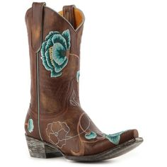 Old Gringo Women's Marsha Western Boot - Brown/Turquoise ❤ liked on Polyvore