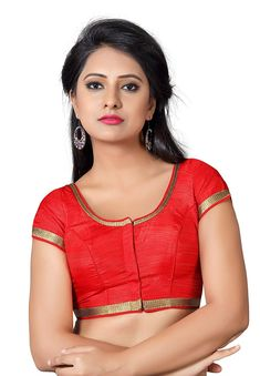 784a67f194cd1a Salwar Studio Women's Red Silk Readymade Front Open Saree Blouse: Amazon.in:  Clothing