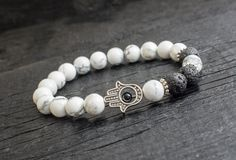 White howlite and lava stone beaded stretchy #bracelet with silver Hamsa hand, made to order yoga bracelet, mens bracelet, womens bracelet