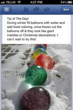 Colored ice balls....fill balloons with water and coloring and let them freeze, take the balloon off  after freezing and you now have colored balls decorating your yard for the winter