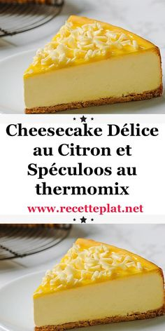 Cheesecake Délice au Citron et Spéculoos au thermomix Lemon and Speculoos Cheesecake with Thermomix. Discover the recipe for Lemon and Speculoos Cheesecake, easy to prepare with the thermomix. Thermomix Cheesecake, Dessert Thermomix, Cheesecake Desserts, Cheesecake Bites, Dessert Recipes, Orange Recipes, Lemon Recipes, Food Garnishes, Salty Cake
