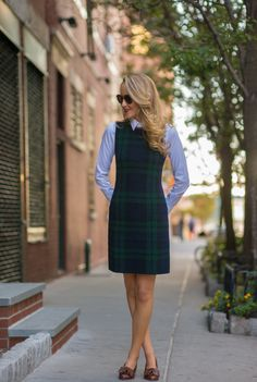 plaid dress with button-down shirt