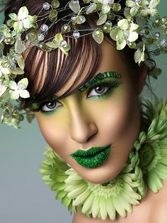 Green makeup for The Emerald City scene of the show.