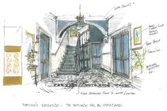 This is an art department sketch of the entrance hall in Phryne's house. #MissFisher #PhryneFisher #sketch #drawing #behindthescenes