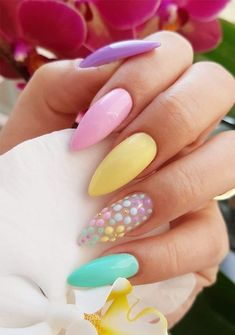 Nails, easter nail designs, nail designs spring, gel nail art d Pastel Color Nails, Spring Nail Colors, Spring Nail Art, Colorful Nails, Bright Nails, Multicolored Nails, Cute Spring Nails, Fall Nails, Pastel Colors