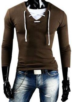 Vska Men Long-Sleeve Funnel Neck Solid Holes Handkerchief Hem T-Shirt Top