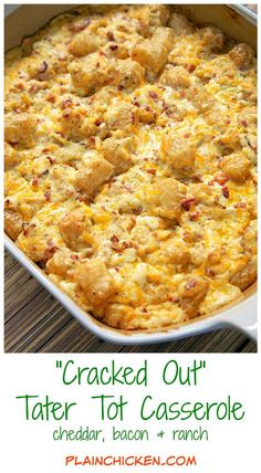 Cheddar Bacon Ranch Tater Tot Casserole | 15 Yummy Chicken Casserole Recipes to Feed the Whole Family by Pioneer Settler at http://pioneersettler.com/chicken-casserole-recipes/