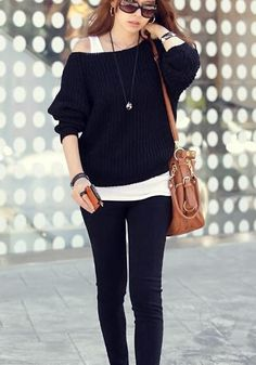 Black Knit Pullover - Comfy Knit Sweater