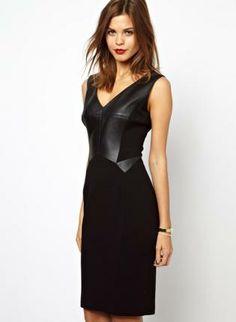 Black Sexy Dress - Bqueen V Neck PU sleeveless