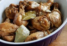 Filipino Adobo Chicken | Skinnytaste Ingredients:     8 chicken legs on the bone (skin removed) 1/3 cup low sodium soy sauce 1/3 cup apple cider vinegar 1 small head of garlic, crushed 6 ground peppercorns 4 bay leaves 1 jalapeño, chopped (optional)