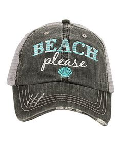Gray 'Beach Please' Trucker Hat #zulily #zulilyfinds