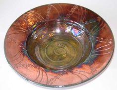 "Charlotte Munning. 12"" carved pottery bowl. Raku pottery. Nicole's Studio and Art Gallery"