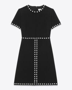 saintlaurent, Aライン スタッズドレス(ブラック/ジャージー、シルバートーンメタルスタッズ)