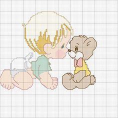 Disegno per punto croce di un bambino e un orsetto