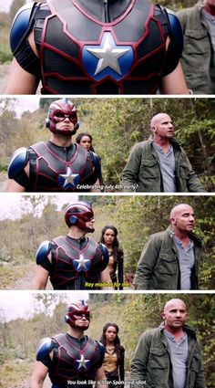 You look like a Star-Spangled idiot - Mick, Nate and Amaya Legends Of Tomorrow Cast, Legends Of Tommorow, Supergirl Dc, Supergirl And Flash, Funny Comics, Dc Comics, Mick Rory, Cw Dc, Dc Tv Shows