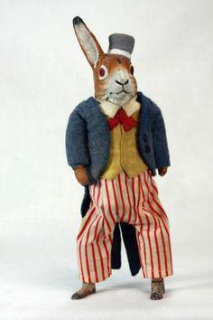 Antique German Mechanical Wind Up Uncle Sam Rabbit c1910