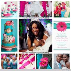 aqua blue and hot pink wedding | nigerian wedding white, fuchsia pink and turquoise blue wedding color ...