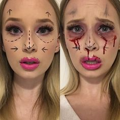 1 Halloween Look a Day for October - Plastic Surgery Gone Wrong #makeup #beauty