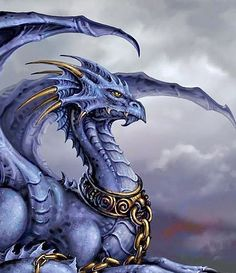 Being connected to the freezing, lifeless, inhospitable Source, I always imagine the Cold Chaos Dragon is blue in colour. Magical Creatures, Fantasy Creatures, Mythological Creatures, Fantasy Dragon, Fantasy Art, Fantasy Fiction, Cool Dragons, Dragons Den, Dragon Artwork