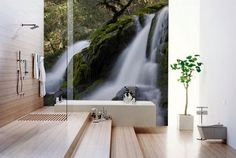 bathroom with waterfall wallpaper