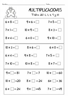Multiplication Activities, 3rd Grade Math Worksheets, Math Activities, Multiplication Tables, Primary Maths, Basic Math, Math Facts, Math For Kids, Home Schooling