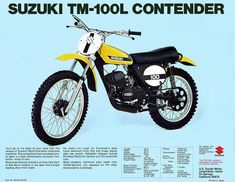 """1974 Suzuki """"Cyclone"""" - I had one of these and it was a blast to ride. I regret ever selling it. Motocross Tracks, Motocross Bikes, Vintage Motocross, Racing Motorcycles, Vintage Racing, Suzuki Dirt Bikes, Suzuki Motocross, Mx Bikes, Suzuki Motorcycle"""