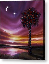 Christmas Palmetto Tree Painting by James Christopher Hill - Christmas Palmetto Tree Fine Art Prints and Posters for Sale