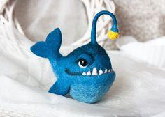 Anglerfish Creepy fish Deep Sea fish Felt fish Handmade toy Needle felting Figurines Eco friendly Personalised gifts