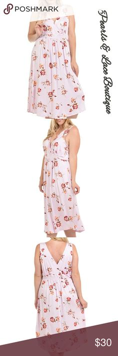 """🚨New item!🎉🎉 Plus Size V- neck Midi Dress 🚨New item!🎉🎉 Women's Plus Size V- neck Midi Dress *BOUTIQUE item pink floral  V-neck Dress has some stretch 95% RAYON  5% Spandex  Length 49"""" made in USA  True to size NWT Bellino Clothing Dresses Midi"""
