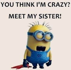 Some Really funny memes from your favorite minions, hope you enjoy it. Some Really funny memes from your favorite minions, hope you enjoy it. Some Really funny memes from your favorite minions, hope you enjoy it. Little Sister Quotes, Sister Quotes Funny, Brother Sister Quotes, Crazy Sister, Love My Sister, Funny Sayings, Funny Quotes About Sisters, Sister Jokes, Sister Sayings