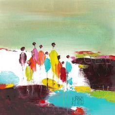 L'oeuvre unique et originale Bord de mer a été réalisée par l'artiste Christine Barres, qui conçoit des paysages et des uvres figuratives très colorées en travaillant la peinture à l'huile au couteau.