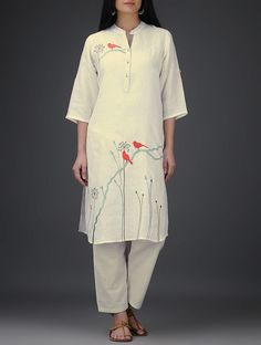 Ivory Roll-Up Sleeve Embroidered Linen Kurta