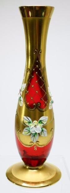 Vintage Czech Bohemian Egermann 24kt Gold Ruby Crystal Art Glass Bud Vase PK4