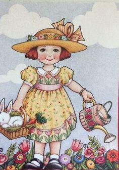 Handmade Fridge Magnet-Mary Engelbreit Artwork-Happy Easter!