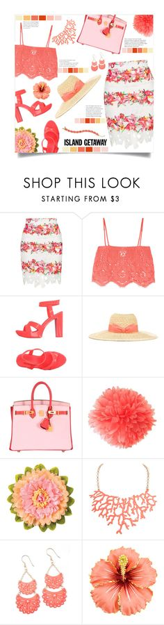"""""""Coral"""" by mmk2k ❤ liked on Polyvore featuring Topshop, Miguelina, Melissa, Lanvin, Hermès, Cultural Intrigue, Humble Chic, Kate Spade, coral and islandgetaway"""