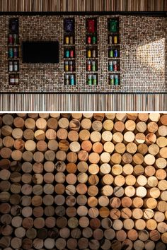 b779f52b868b Small wood discs have been tightly packed on the wall of this modern retail  store