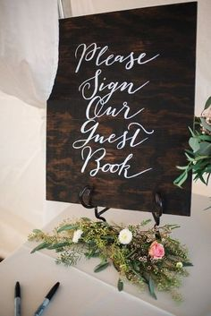 Wooden wedding sign - guestbook sign with elegant calligraphy {Cody Krogman Photography}