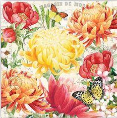 2 DOS cóctel servilletas para Decoupage y manualidades de papel, flores, mariposas