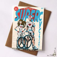Super Cyclist Greetings Cards by wyatt9dotcom on Etsy