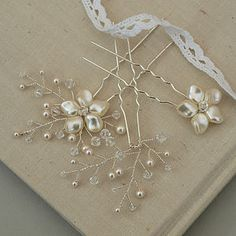 Petal Pearl And Crystal Wedding Hair Pin Trio - wedding jewellery