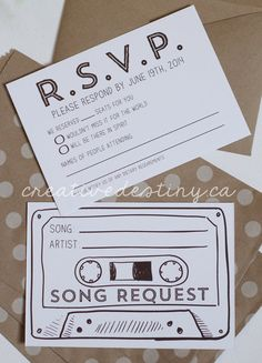 Size: 3.5 x 5 Double sided RSVP cards customized with your wedding RSVP date. Side 1: RSVP information Side 2: Cassette tape with song request