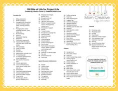 "This is AWESOME!!! ♥ ... 100 Bits of Life for Project Life by Jessica Turner @ ""The Mom Creative"" Blog"
